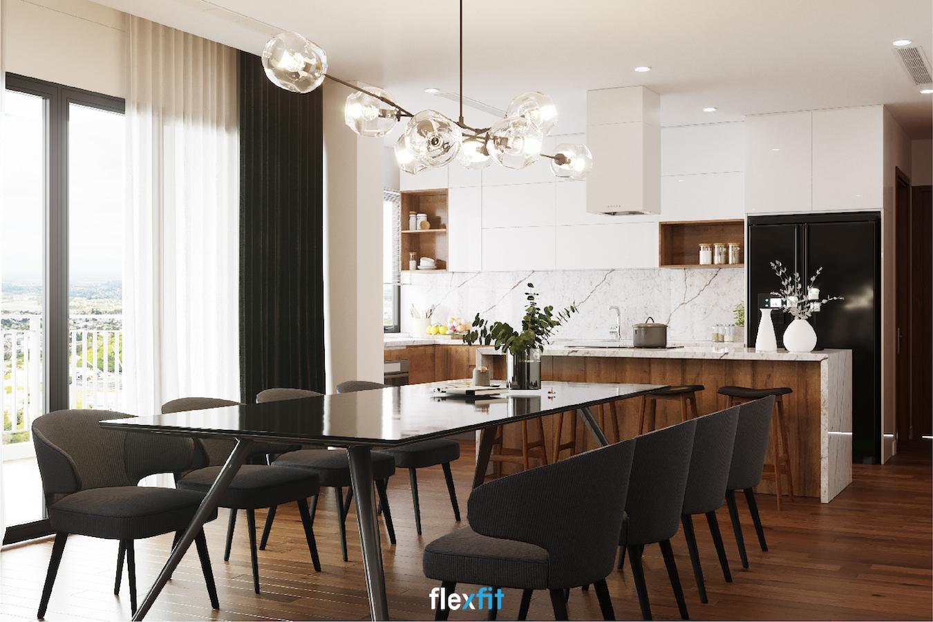 Mẫu thiết kế phòng bếp 20m2 hợp lý đầy đủ tiện nghi