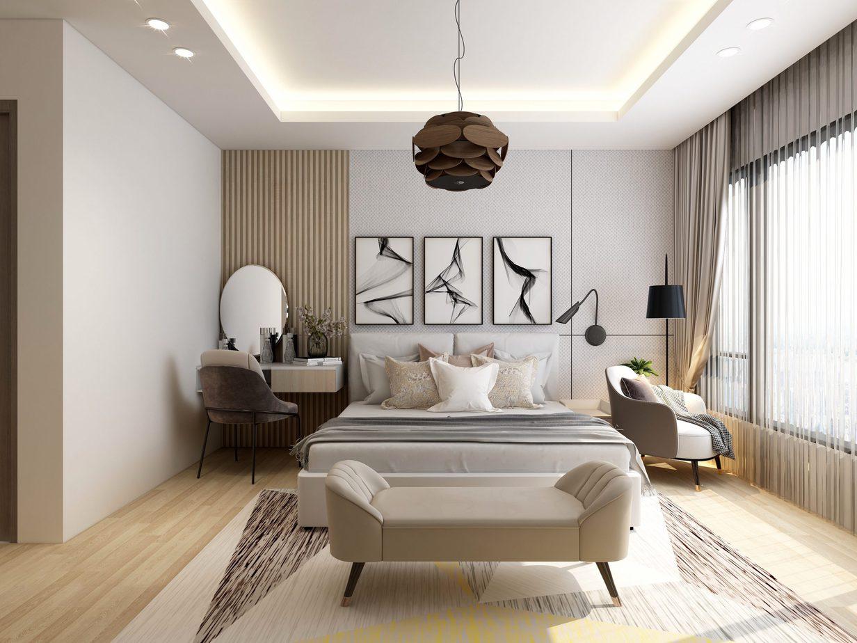 Căn phòng dù tối giản nhưng vẫn vô cùng hiện đại và tiện nghi với mẫu giường trắng tinh khôi.