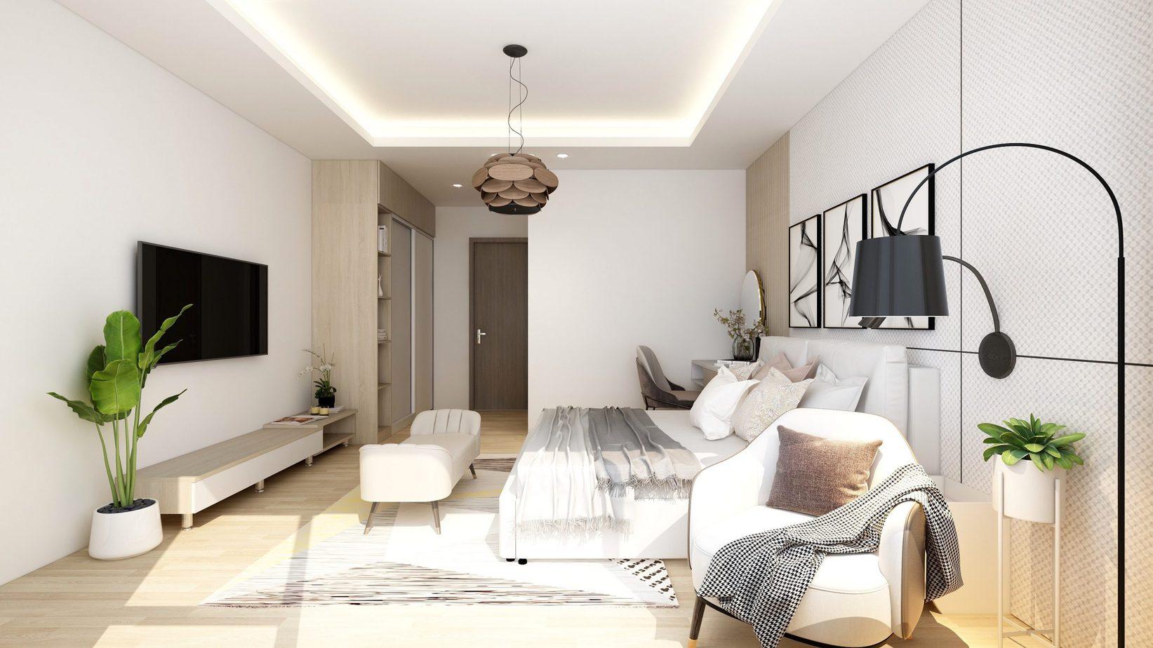 Thiết kế cửa rộng cho ánh nắng bình minh tràn vào phòng tạo nên không gian thưởng trà đầy thú vị