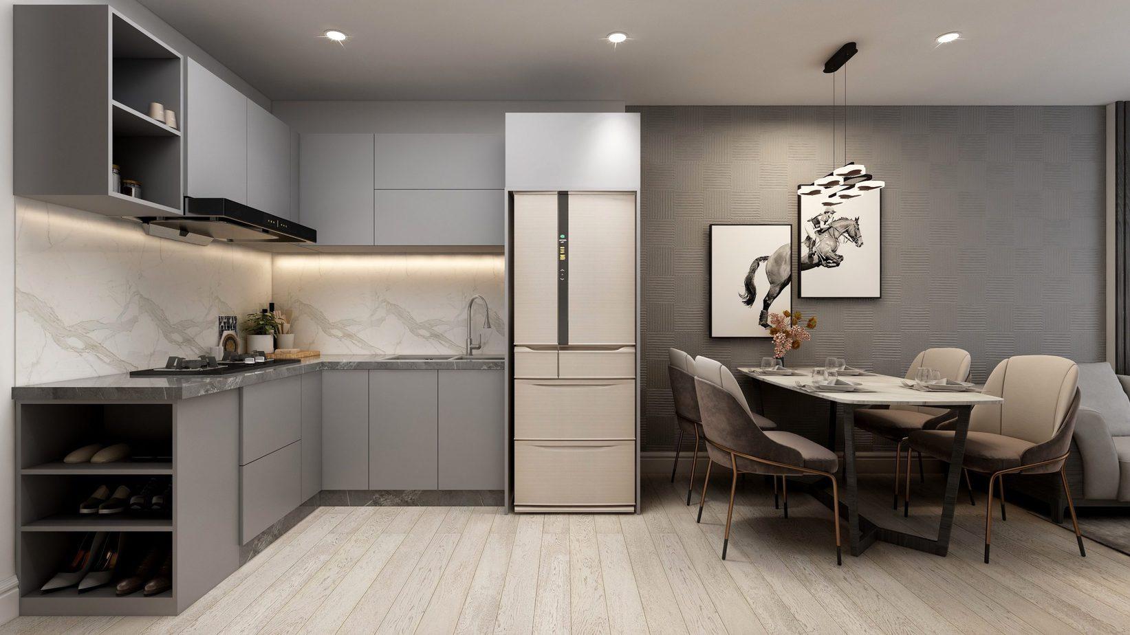Vẻ đẹp thanh lịch, nền nã, hiện đại của tủ bếp chữ L màu xám có thêm ô lưu chữ đồ không cánh tiện dụng
