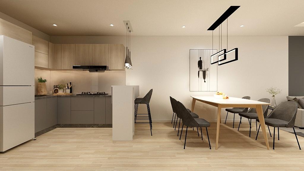 Tông màu xám - nâu vân gỗ của tủ bếp chữ L kết hợp với màu sắc tổng thể của căn bếp 8m2 mang lại vẻ đẹp hài hòa và cảm giác dễ chịu cho người dùng