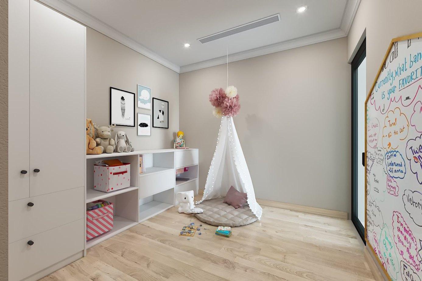 Giường ngủ thiết kế kiểu túp lều công chúa độc đáo, sáng tạo, hấp dẫn tạo nên chỗ nghỉ nghỉ thoải mái và đẹp mắt cho bé