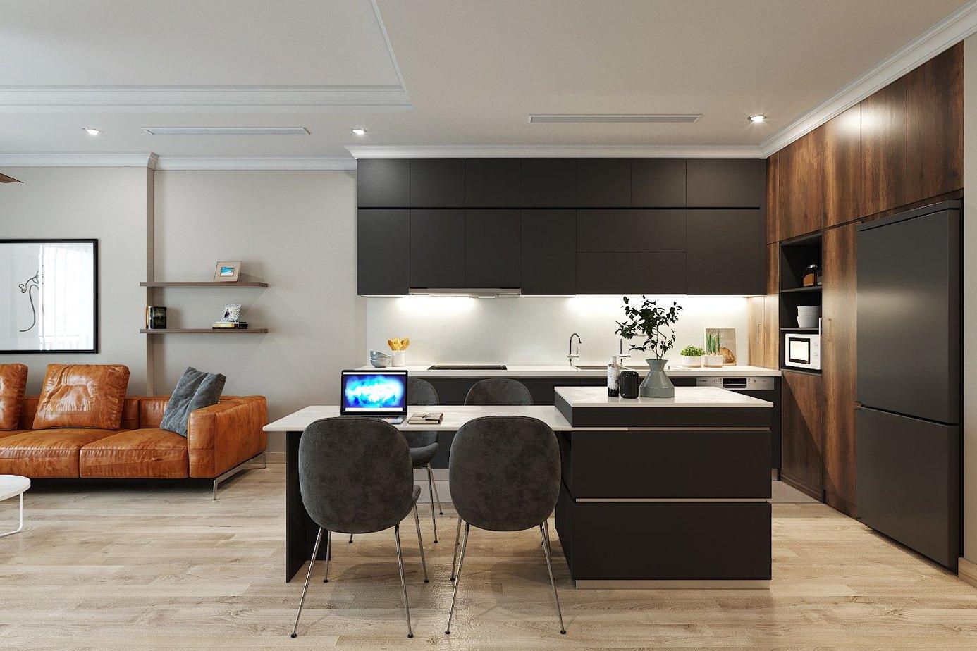 Phòng bếp sử dụng bàn đảo vừa để đồ trang trí như lọ hoa… vừa làm bàn ăn và bàn làm việc khi cần giúp tiết kiệm diện tích