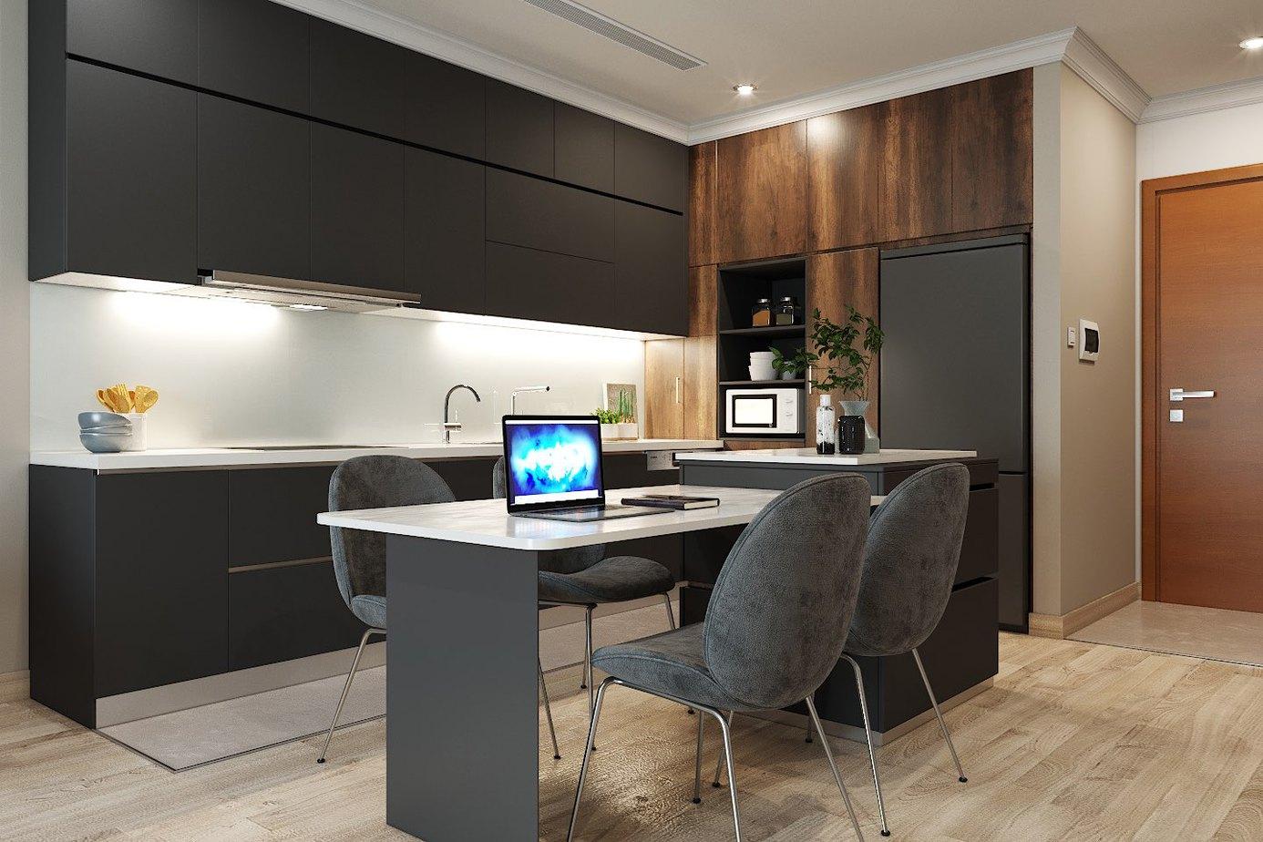 Tối ưu không gian sử dụng với tủ bếp thiết kế kịch trần