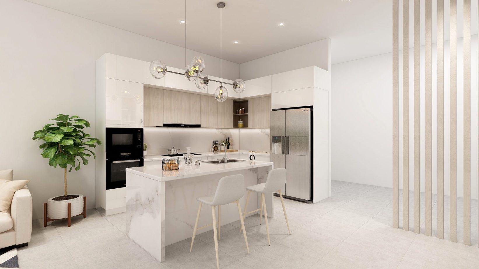 Căn bếp tuy nhỏ nhưng vẫn được trang bị đầy đủ nội thất tiện nghi, hiện đại.