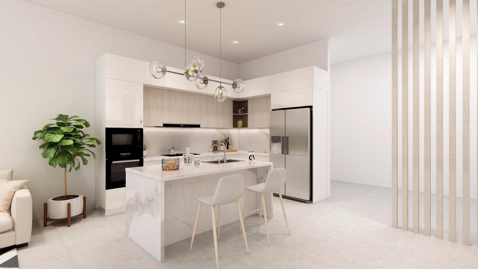 Tủ bếp được phủ Acrylic màu trắng giúp nổi bật vẻ đẹp sang trọng cho căn bếp.