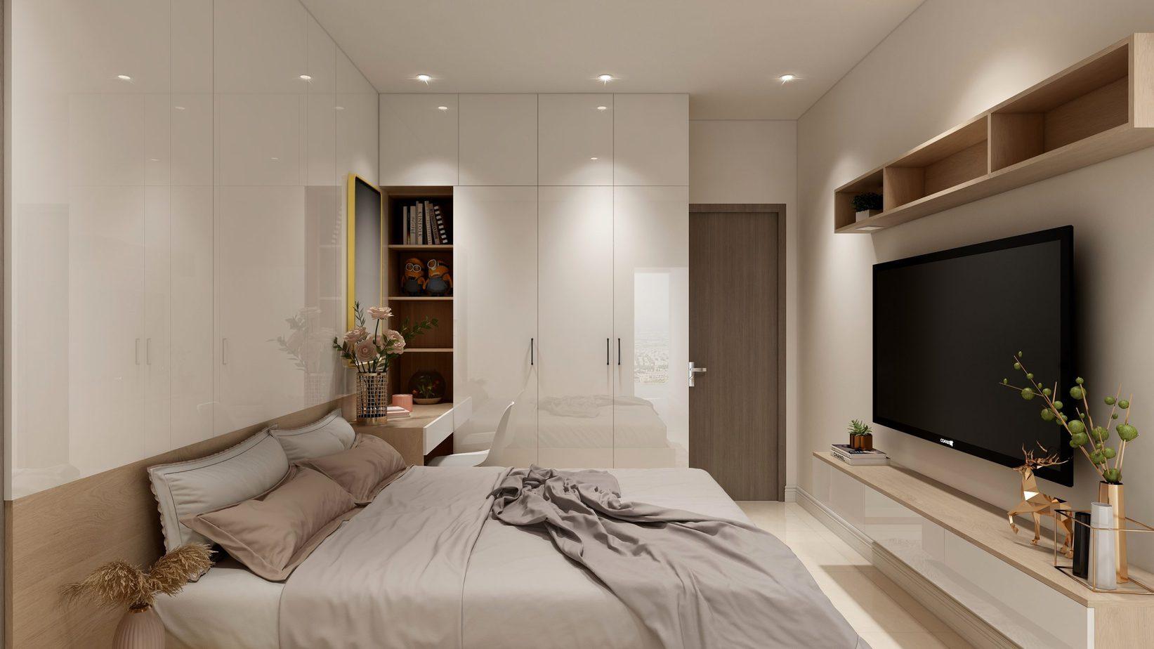 Tivi đặt đối diện với đuôi giường giúp vợ chồng dễ dàng nằm xem phim mà không lo phạm phong thủy