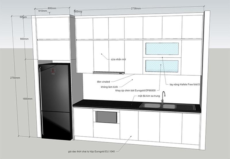 Bản vẽ thiết kế tủ bếp chữ i cho nhà nhỏ
