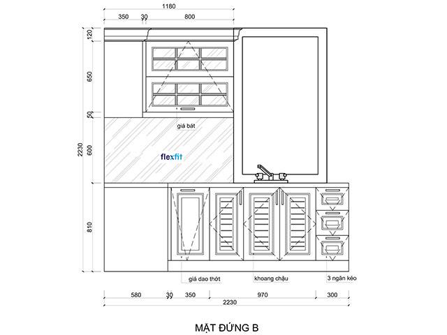 Bản vẽ thiết kế tủ bếp tân cổ điển chữ L