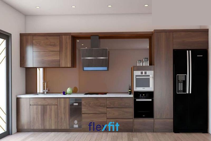 Mẫu tủ bếp đẹp chữ i bằng gỗ óc chó