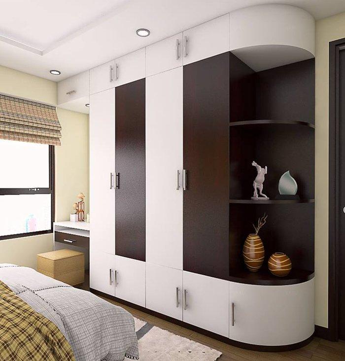 """Tủ quần áo âm tường kết hợp bàn trang điểm, kệ trang trí thiết kế """"ăn điểm"""" với đường cong ấn tượng"""
