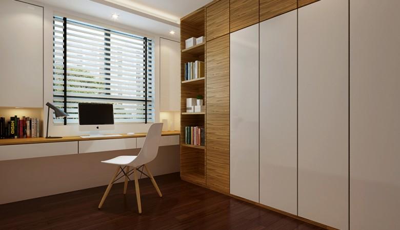 Thiết kế tủ quần áo âm tường kết hợp với kệ sách, bàn làm việc… sẽ giúp căn phòng thêm ngăn nắp, hiện đại hơn