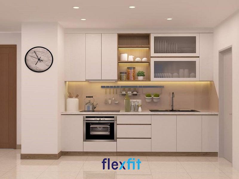 Vẻ đẹp sang trọng và sáng bóng của gian bếp với thiết kế tủ bếp thẳng chữ i phủ Acylic