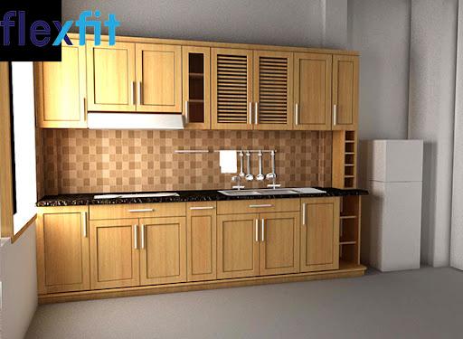Mẫu tủ bếp chữ i gỗ sồi Nga nhỏ gọn mà vẫn đầy đủ công năng sử dụng