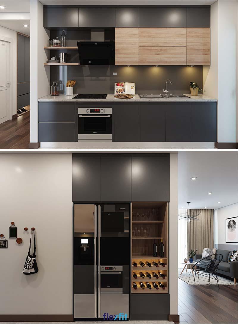 Tủ bếp song song màu ghi đen cho diện tích 8m2