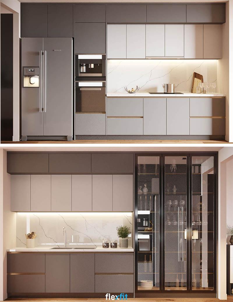 Tủ bếp sở hữu kích thước khá rộng, với nhiều ngăn chứa nhỏ giúp bạn sắp xếp đồ gia dụng một cách ngăn nắp nhất.
