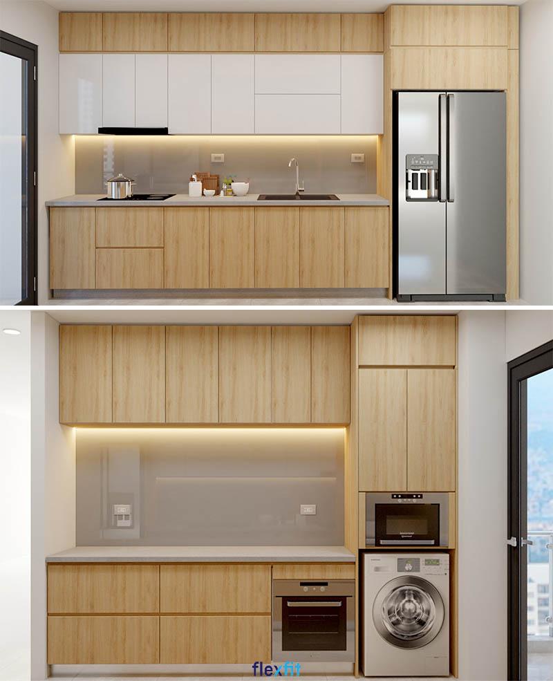 Tủ bếp nối liền vị trí để tủ lạnh mang đến sự tiện nghi, đồng bộ cho cả căn bếp.