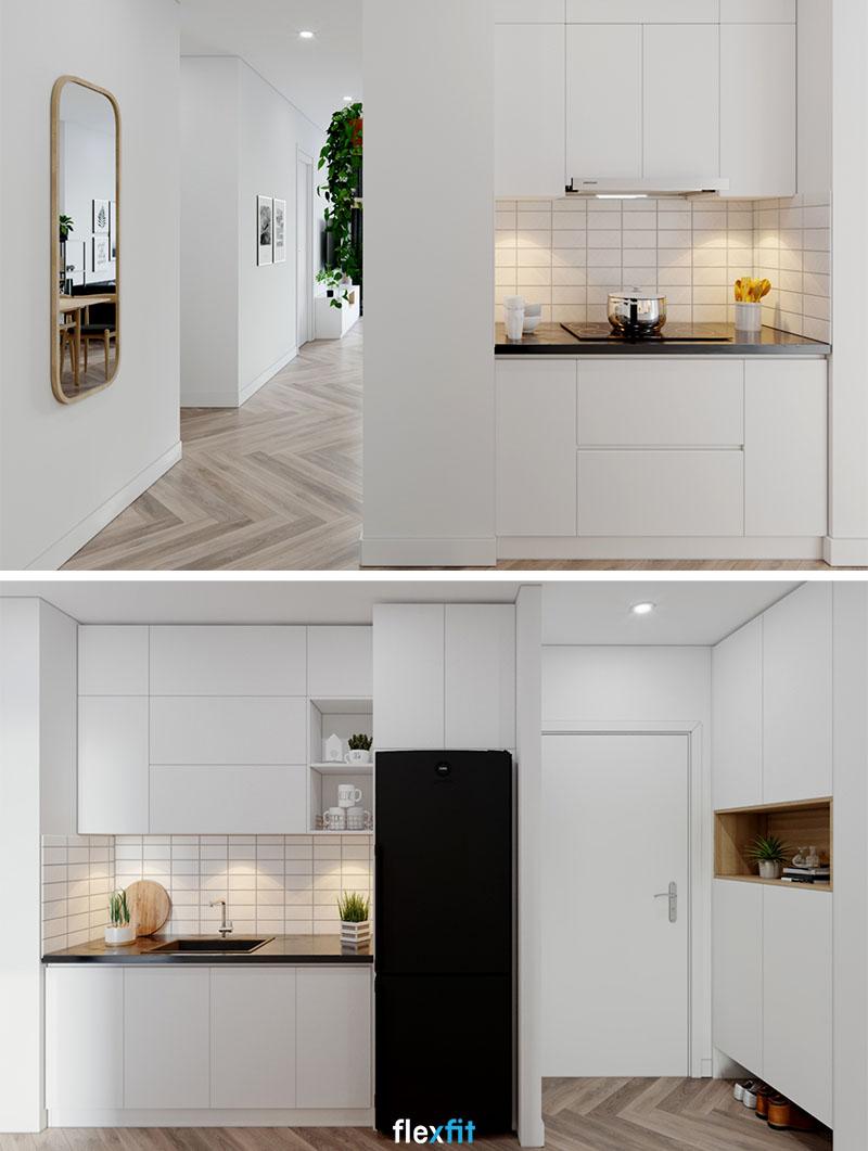 Với tông màu sáng, mẫu tủ bếp giúp không gian có cảm giác như được nới rộng một cách tự nhiên nhất.