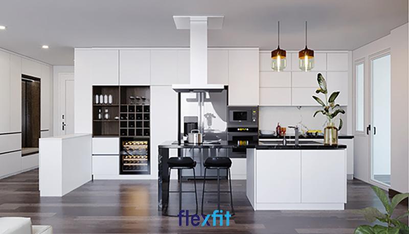 Tủ bếp chữ i có đảo bếp màu trắng cho diện tích 10m2