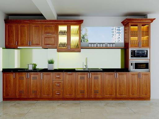 Tủ bếp gỗ xoan đào đẹp chữ i kiểu dáng tân cổ điển