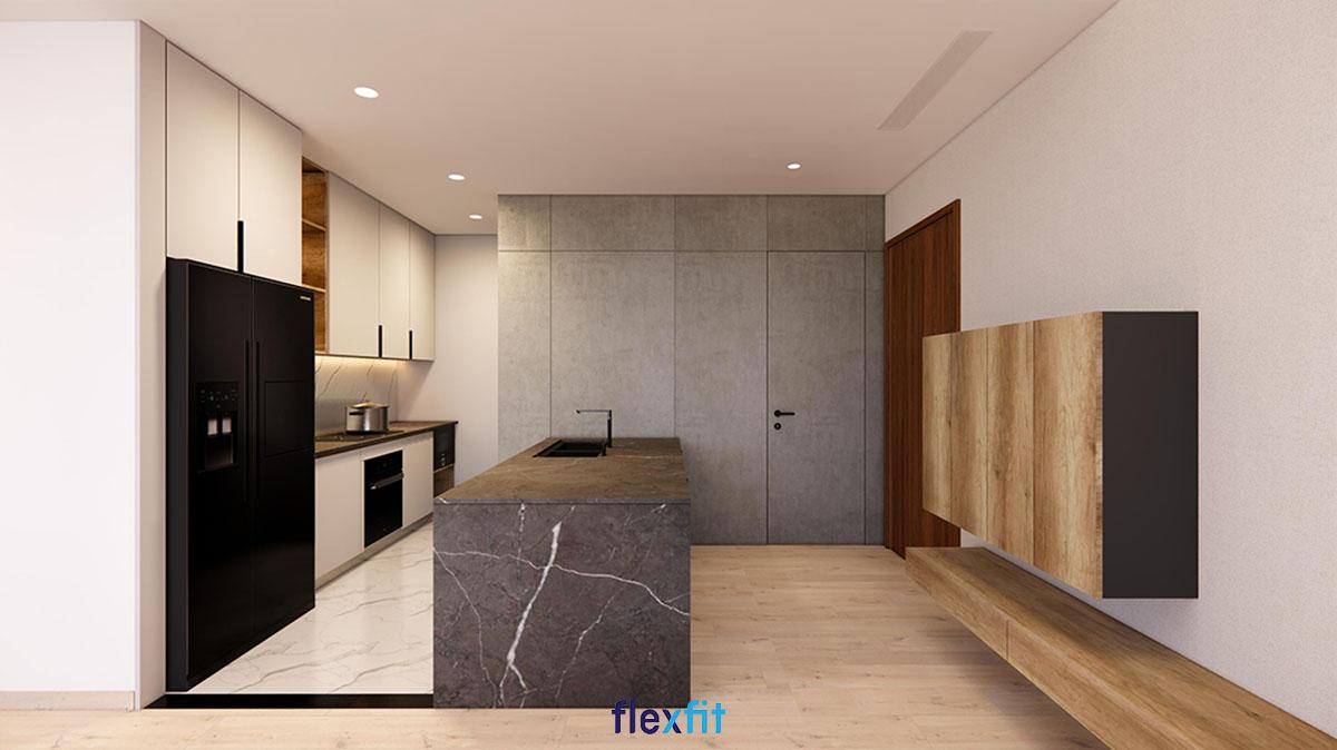 Mẫu tủ bếp chung cư chữ I có bàn đảo này được thiết kế theo phong cách hiện đại với các gam màu đen, nâu, trắng hài hòa. Mẫu tủ này giúp tối ưu không gian và có thể lắp đặt cho cả không gian bếp chật hẹp, chỉ khoảng 10m2.