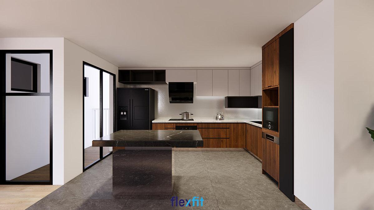 Tủ bếp chữ L màu be và nâu gỗ có đảo bếp màu đen