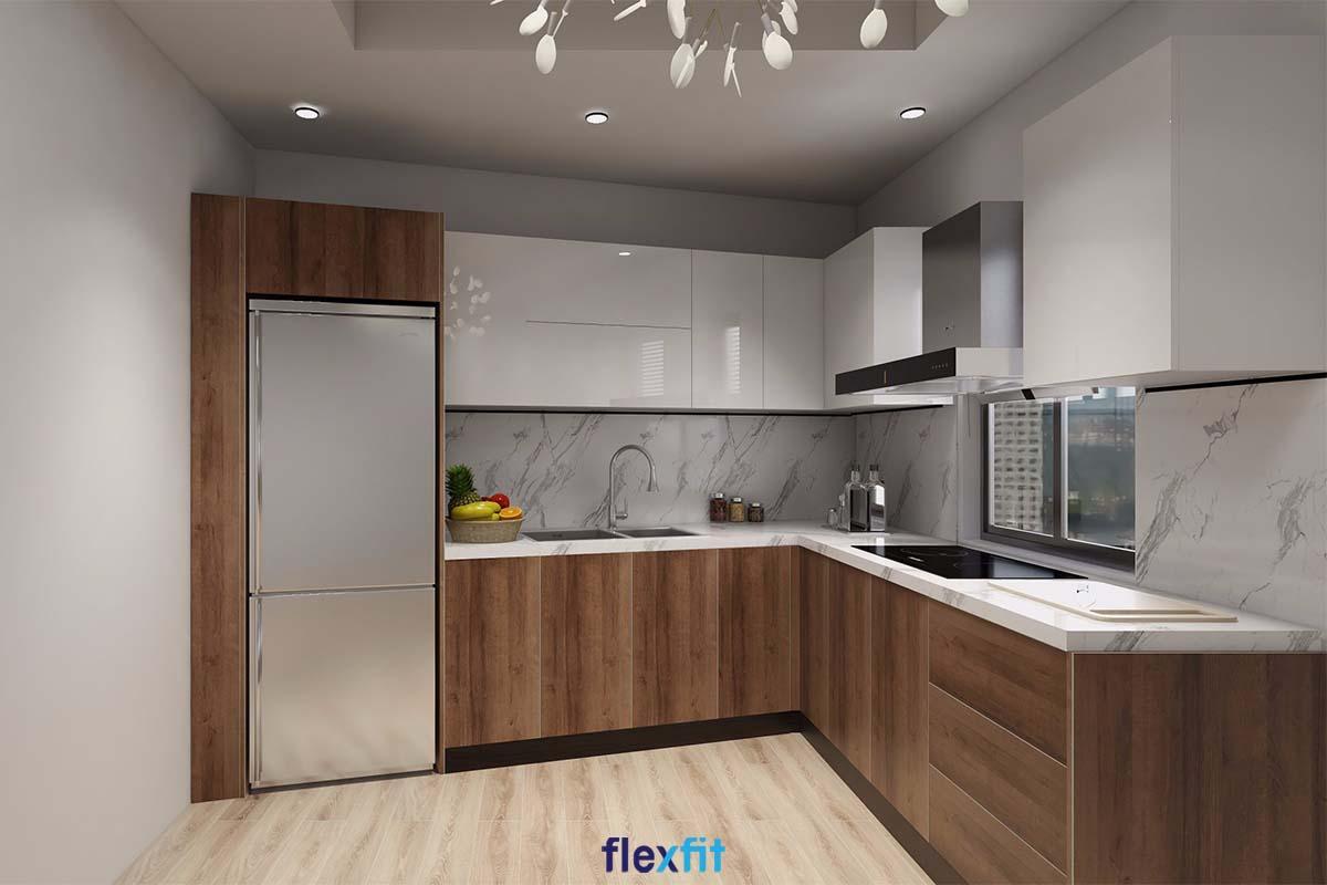 Tủ bếp chữ L gỗ MDF phủ Laminate màu trắng và nâu gỗ