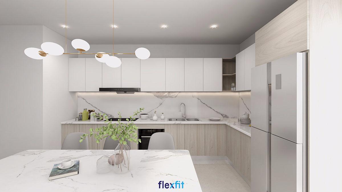 Tủ bếp chữ L đẹp với màu trắng trang nhã