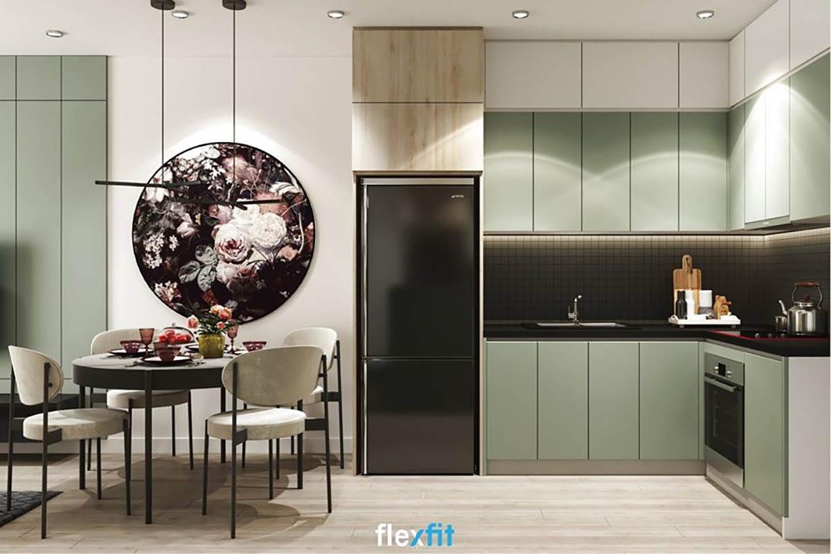 Tủ bếp chữ L màu trắng và xanh lá hiện đại
