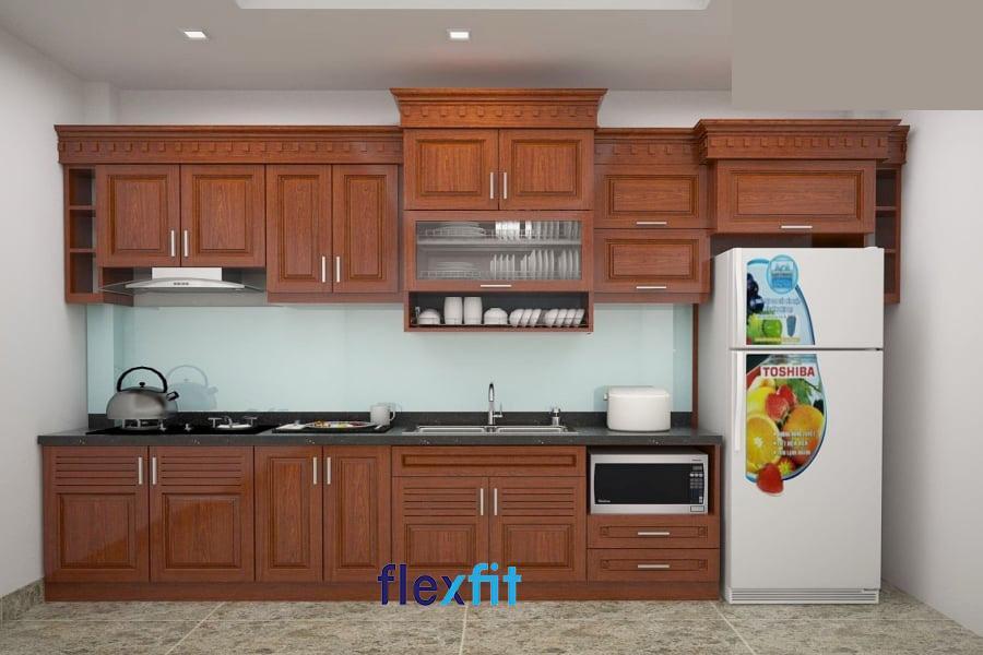 Tủ bếp gỗ xoan đào đầy sang trọng