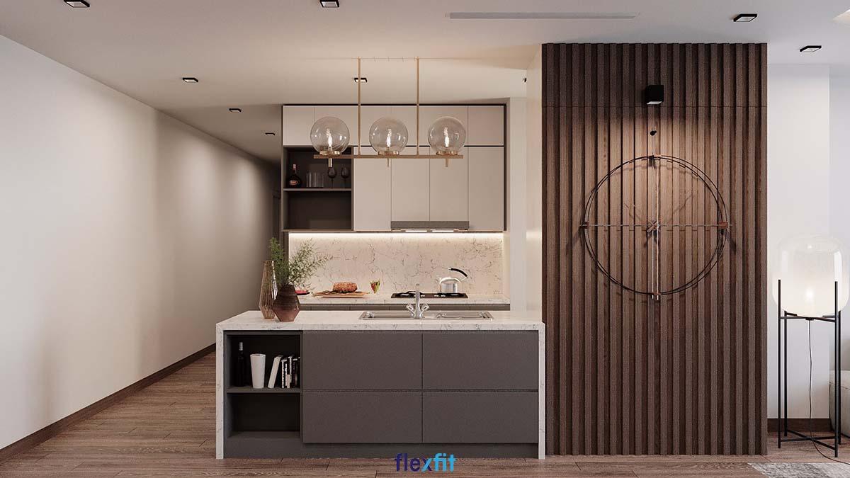 Tủ bếp phủ Melamine màu trắng - ghi có đảo bếp chứa đồ