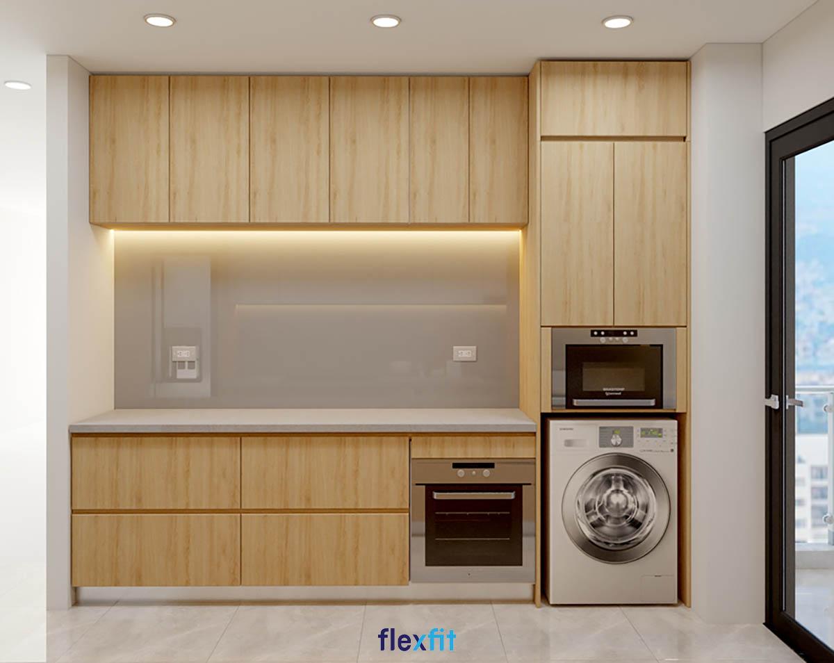 Tủ bếp phủ Melamine song song đặt tủ lạnh và các loại máy