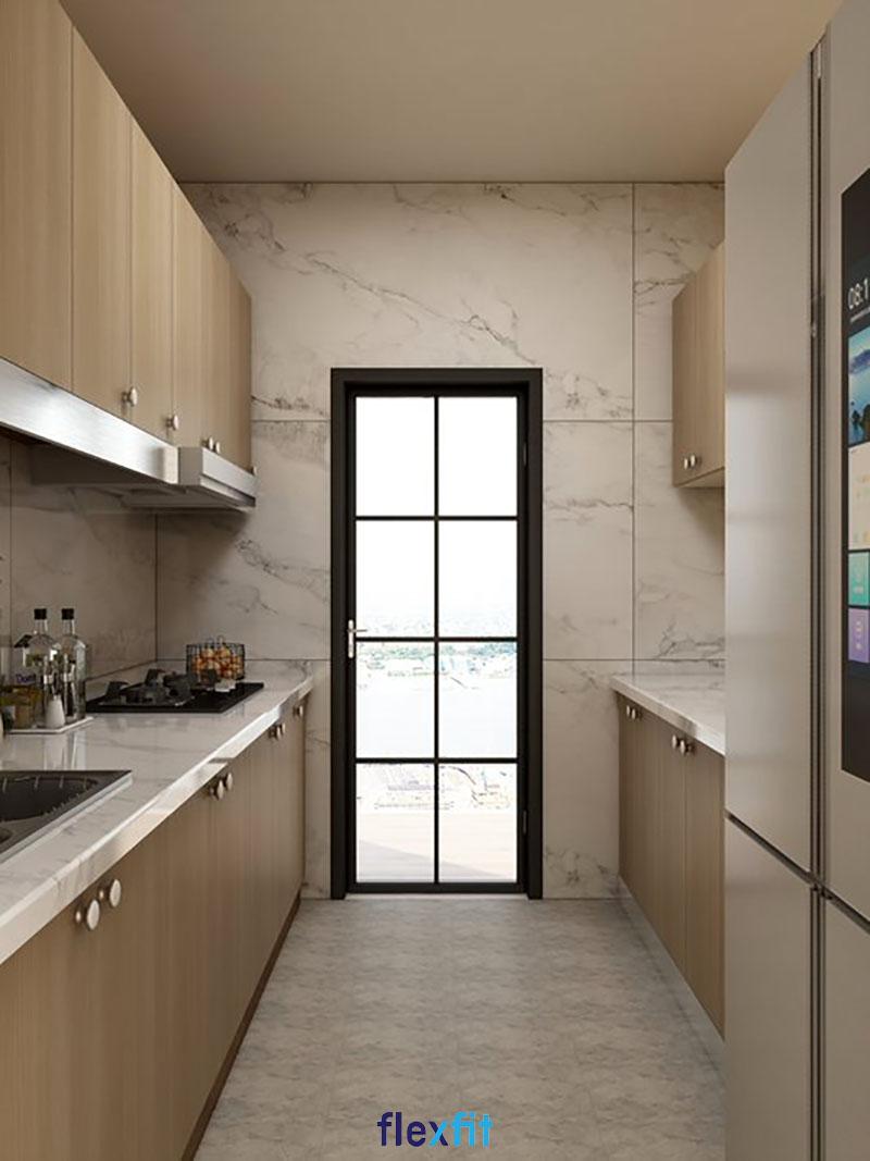 Tủ bếp phủ Melamine màu nâu gỗ đặt song song