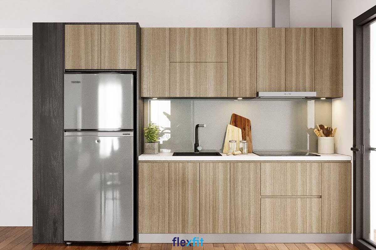Tủ bếp phủ Melamine chữ i màu nâu vân gỗ tinh tế