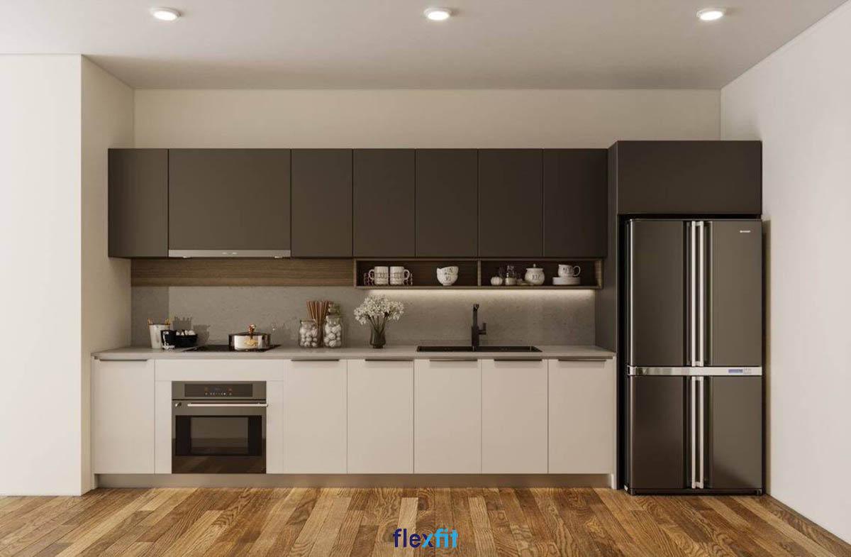 Tủ bếp phủ Melamine chữ i màu trắng - nâu đen đối lập