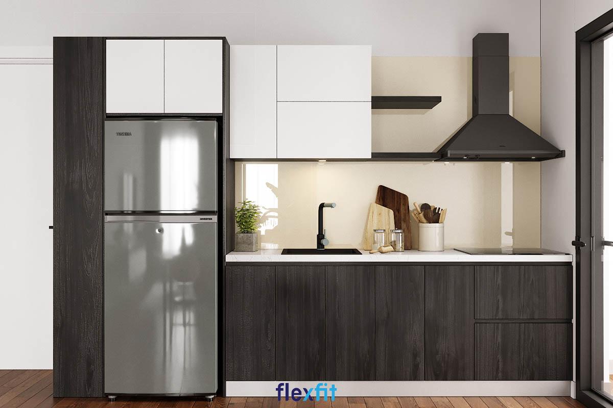 Tủ bếp phủ Melamine chữ i màu nâu gỗ trầm