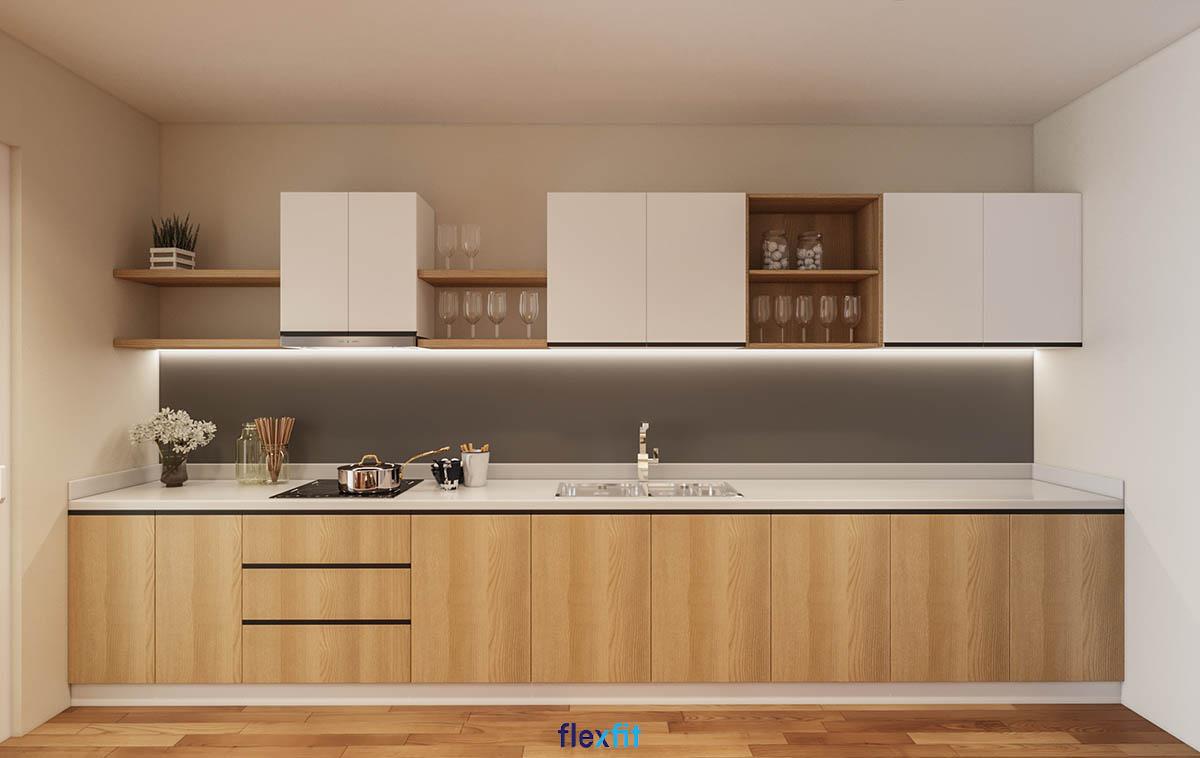 Tủ bếp phủ Melamine lõi gỗ MDF màu trắng - nâu gỗ cho diện tích 8m2