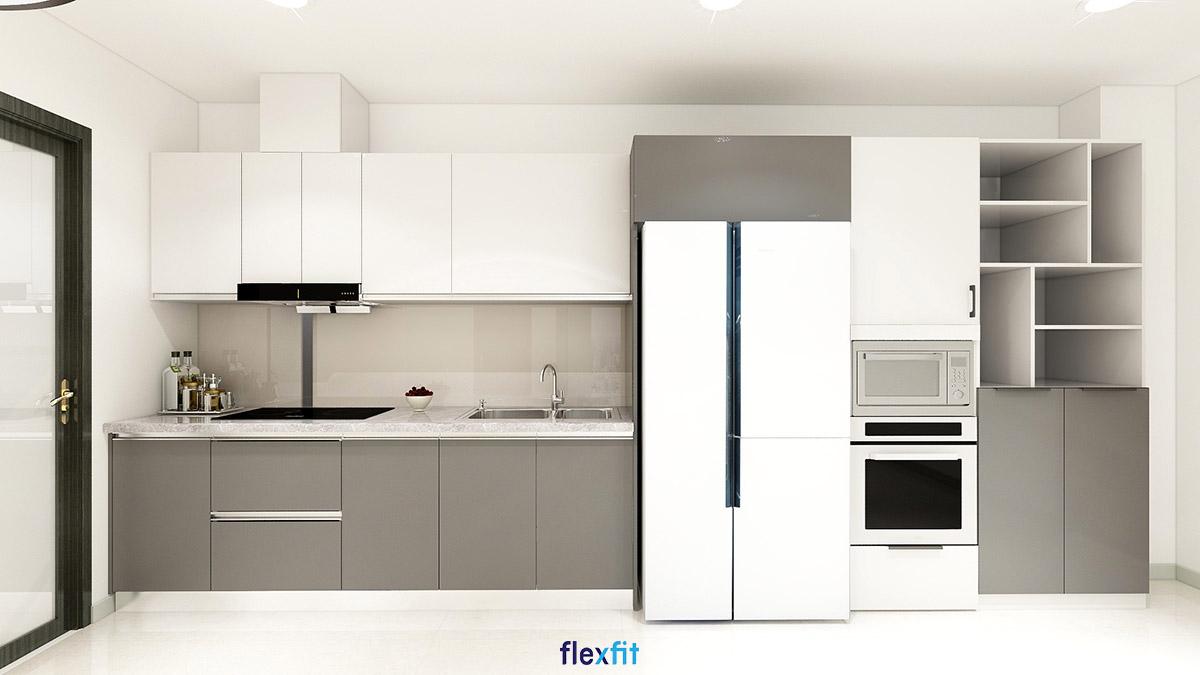 Tủ bếp phủ Melamine chữ i màu trắng - ghi đơn giản