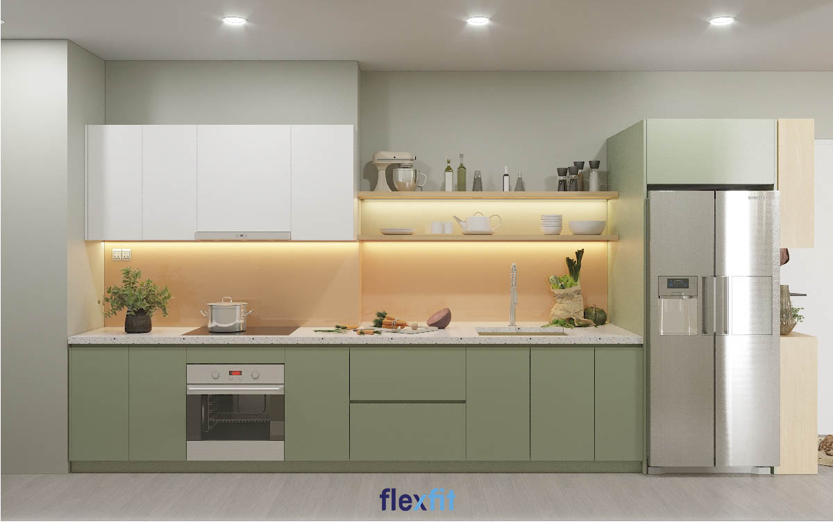 Tủ bếp phủ Melamine màu xanh nhạt dịu nhẹ và thanh mát