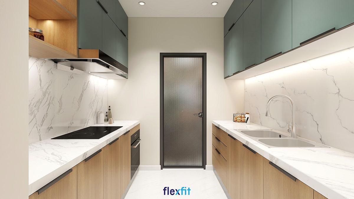 Tủ bếp phủ Melamine màu xanh lá, nâu gỗ đặt song song