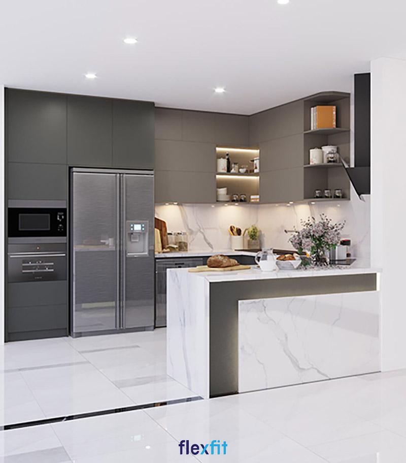 Tủ bếp phủ Melamine chữ U có đảo bếp màu trắng độc đáo