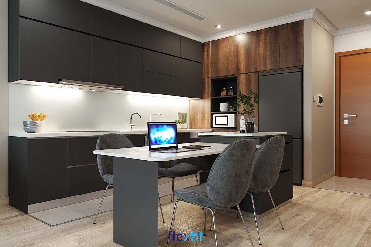 Tủ bếp phủ Melamine chữ i màu đen sang trọng với bàn đảo