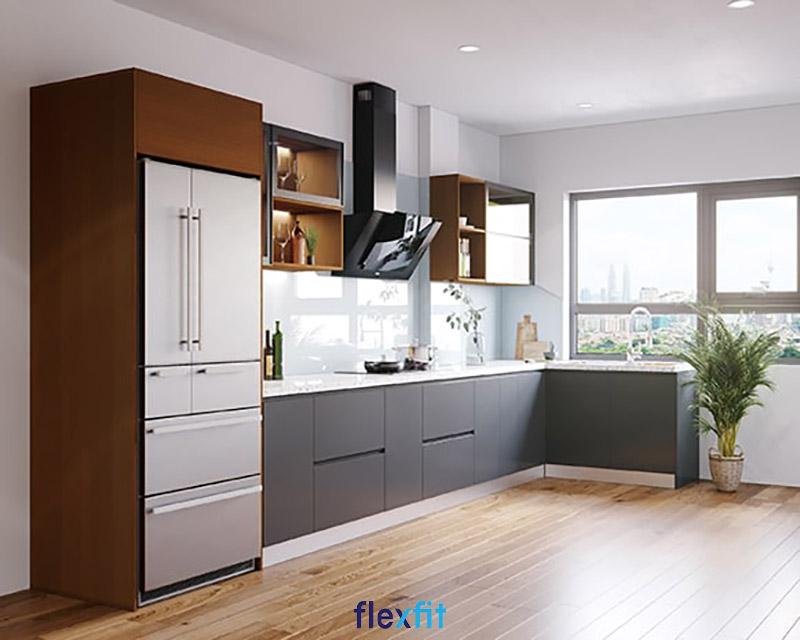 Tủ bếp phủ Melamine lõi gỗ MDF màu nâu đỏ - ghi trầm cá tính