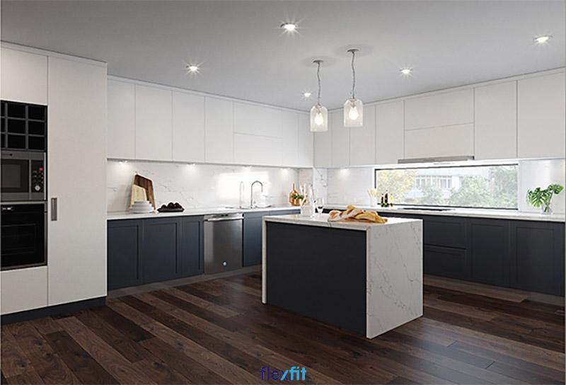Tủ bếp phủ Melamine chữ L có đảo bếp cho diện tích 15m2