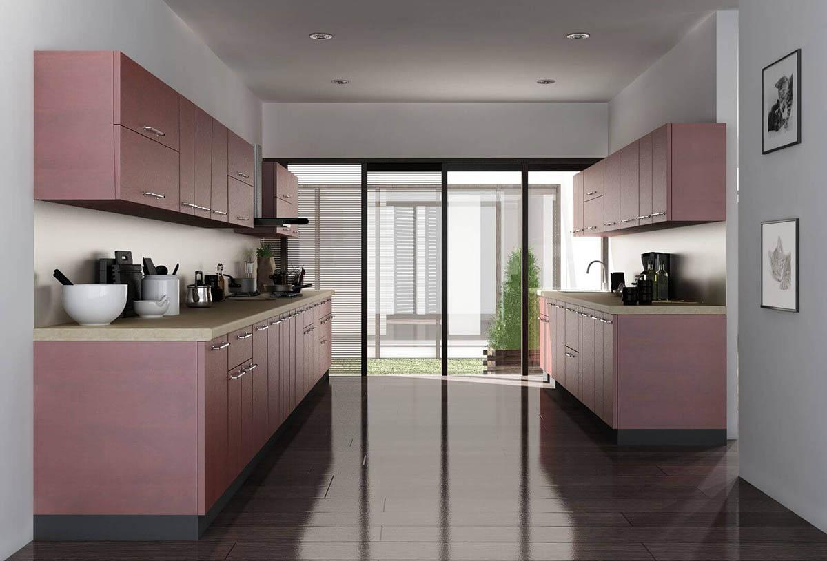 Tủ bếp song song màu hồng ghi lãng mạn