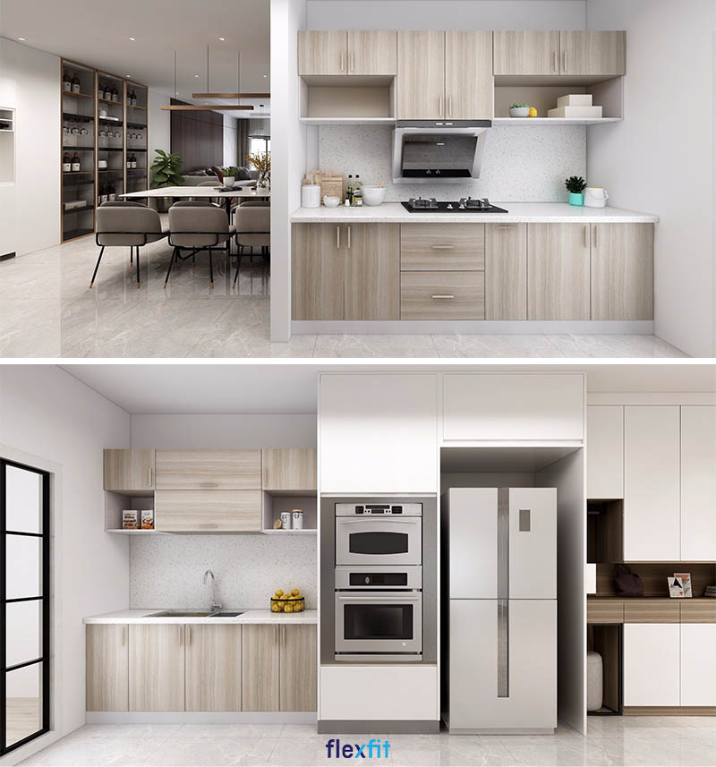Tủ bếp song song gỗ MDF phủ Melamine màu nâu vân gỗ cho diện tích 6m2