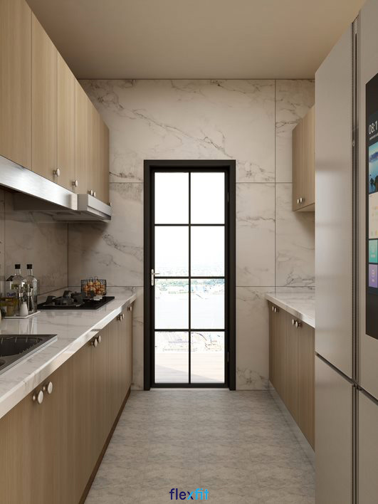 Tủ bếp song song màu nâu vân gỗ có tay nắm đồng