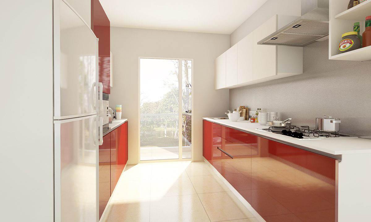 Tủ bếp chung cư song song này được phối màu vang đỏ và trắng giúp tạo cảm hứng vào bếp tuyệt vời. Mỗi khi nhìn vào gian bếp nhà mình, bạn sẽ luôn hào hứng để xắn tay áo lên và làm những món ngon cho bản thân và người thân yêu của mình.