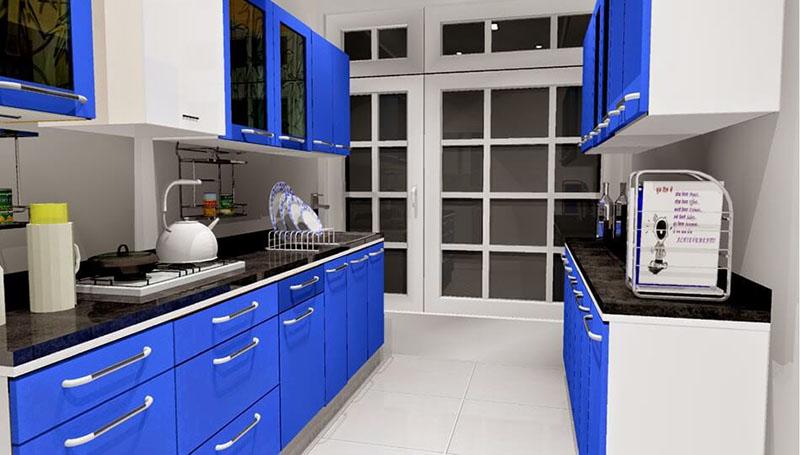 Tủ bếp song song màu xanh lam và trắng siêu nổi bật