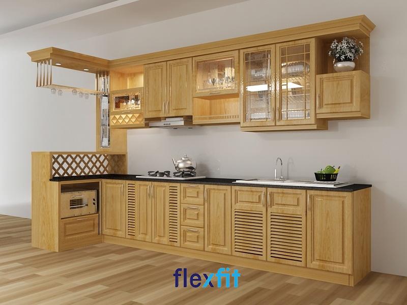 Mẫu tủ bếp chữ i gỗ xoan đào kết hợp với quầy bar